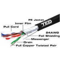Cablu FTP cat.5e sufa cupru integral 0,5 manta PE negru